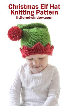 Adorable Christmas Elf Hat knitting pattern, your baby or toddler will be ready to help Santa this year with this cute Christmas Elf Hat! Baby Knitting Patterns, Pattern Baby, Christmas Knitting Patterns, Baby Patterns, Free Knitting, Sewing Stitches, Double Pointed Knitting Needles, Elf Hat, Santa Hat