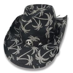e44be1e0997 Cowboy Cowgirl Hat Palm Trees Rodeo Western One Size West Band And Star  Concho