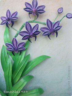 Картина, рисунок, панно Квиллинг: Орхидейка Бумага, Бумажные полосы. Фото 1