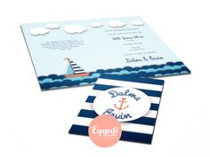 Vitorlás stílusú meghívó | Navy nautical wedding invitation
