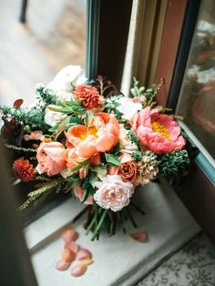 Beautiful Wedding Bouquet With: Peonies, Garden Roses, Dahlias, Greenery/Foliage