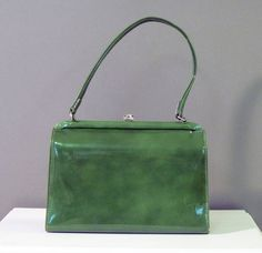 Vintage 60s Purse Avocado Green Faux Patent by vintagedaisydeb, $38.00