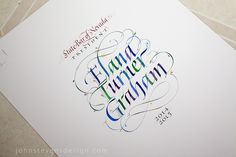 The process of creating hand-made document to acknowledge and honor. Calligraphy with illustration.