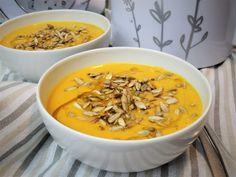 Karotkový krém s cizrnou – Snědeno.cz Modern Food, Gnocchi, Thai Red Curry, Smoothie, Ale, Vegetarian, Meat, Ethnic Recipes, Bulgur