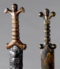 Celtic anthropomorphic sword hilts from Mouriès (Bouches-du-Rhône) and Tesson (Charente-Maritime), France (2/1 c. BC)