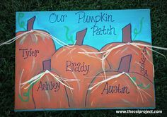 DIY Fall Family Pumpkin Patch Painted Canvas