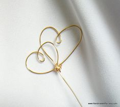 Wedding Cake Topper Gold Knotted Double Hearts by HandmadeAffair, $17.00
