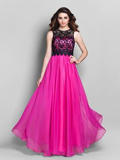Formal Evening/Prom/Military Ball Dress Sheath/Column Jewel Floor-length Chiffon/Lace - USD $89.99