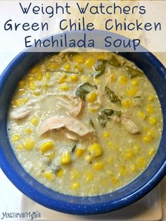 Nothing is better than this hearty and lowfat Weight Watchers Green Chili Chicken Enchilada Soup!