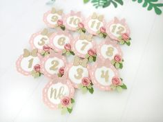 Pink Paper, Paper Roses, First Birthday Decorations Girl, Mickey Mouse 1st Birthday, Mouse Photos, Baby Monthly Milestones, Glitter Letters, Cake Smash Photos, Photo Banner
