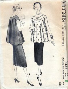50s Vintage Maternity Sewing Pattern Top by allthepreciousthings, $24.00