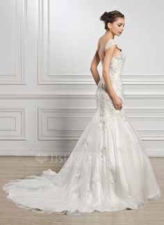 Trumpet/Mermaid Sweetheart Court Train Tulle Wedding Dress With Beading Appliques Lace Sequins (002056969) - JJsHouse