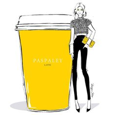 """Megan Hess Illustration: """"Imagine if the world's most beautiful pearls @paspaleypearls made coffee..... It would be spectacular! But why stop there, I'm also imagining a cropped jacked made completely of Paspaley Pearls...... A girl can dream."""""""