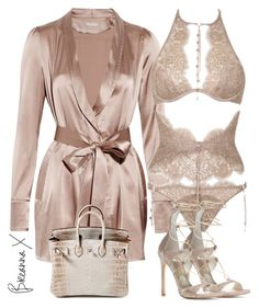 A fashion look from February 2017 featuring robe lingerie, strappy lingerie and Stuart Weitzman. Browse and shop related looks. Jolie Lingerie, Lingerie Outfits, Komplette Outfits, Pretty Lingerie, Lingerie Set, Stylish Outfits, Fashion Outfits, Womens Fashion, Ropa Interior Babydoll