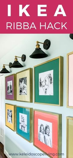 Colorful DIY Photo Gallery Wall,Looking for gallery wall ideas? This photo gallery wall is the most modern and unique gallery wall out there! It's perfect in this hallway, but would . Diy Photo, Wall Collage, Frames On Wall, Photo Collage Frames, Wall Picture Frames, Stairway Picture Wall, Ikea Photo Frames, Modern Picture Frames, Marco Ikea