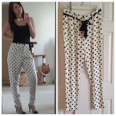 Forever21 Polka Dot Trouser Style Pants Lightweight button waist pants with ribbon tie belt. Super cute and gently worn! Forever 21 Pants Trousers