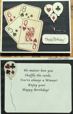 Birthday card made with scrap booking paper with printed playing cards. Great card for men too!