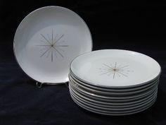 Eames era MCM atomic starburst Modern Star plates