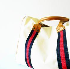 Preppy Striped Bag with Honey Brown by AmeliaBedeliaVintage