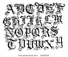 Example 2 Different Fonts Graffiti Gothic Alphabet To Print Letters Tag Black And White