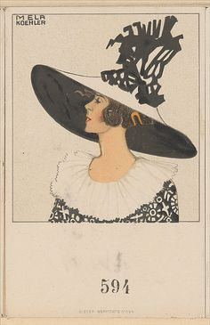 Hutmode (Hat Fashion)  Mela Koehler  (Austrian, Vienna 1885–1960 Stockholm)    Publisher:      Published by Wiener Werkstätte  Date:      ca. 1907/8–14  Medium:      Color lithograph