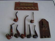 Online veilinghuis Catawiki: Serie van 7 tabaks pijpen met wand decoratie