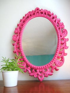 HOT PINK Vintage HOLLYWOOD REGENCY Wall MIRROR by fabulousmess