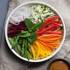 Rainbow Veggie Spring Roll Bowl - EatingWell.com