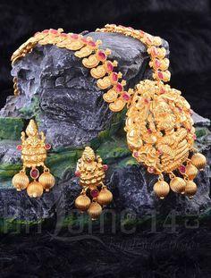 Haaram Necklace Set for Bride with Mahahlakshmi Design