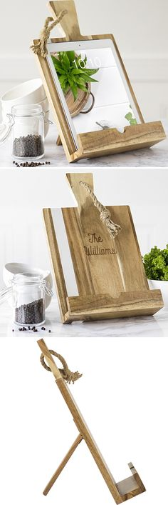 A secure holder for a recipe book, iPad, mobile tablet or phone in the kitchen, this acacia wood iPad & recipe book stand accented with vertical white marble stripe is personalized with 2 lines of custom print for a unique and useful gift idea for the home. This stand can be ordered at https://myweddingreceptionideas.com/personalized-marble-acacia-recipe-stand.asp