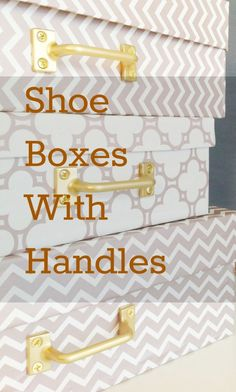 Make cool storage boxes by covering shoe boxes with wrapping paper and attaching handles.  Full instructions at mydearirene