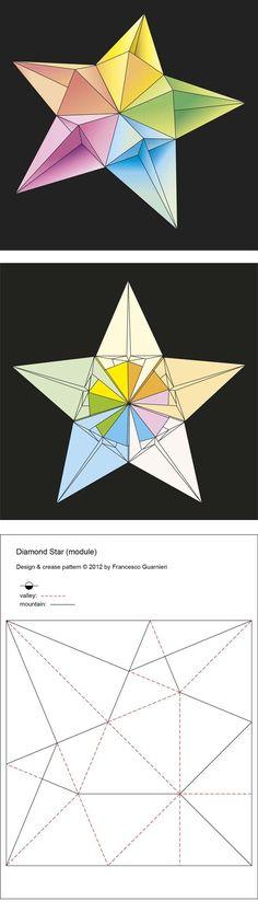 Origami: Stella diamante - Diamond Star. Modular origami, no cuts, no glue, 5 squares of paper. Designed by Francesco Guarnieri, February 2012. CP and variants: http://guarnieri-origami.blogspot.it/2012/11/stella-diamante-1-francesco-guarnieri.html