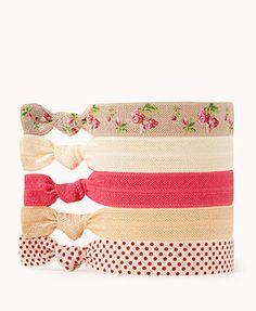 Polka Dot & Floral Hair Tie Set | FOREVER 21 - 1060358265