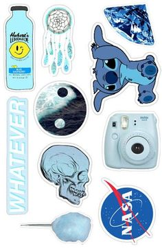 This blue aesthetic sticker pack of 10 is the perfect touch to laptops, smartpho. - This blue aesthetic sticker pack of 10 is the perfect touch to laptops, smartphones, notebooks and - Stickers Cool, Stickers Kawaii, Tumblr Stickers, Phone Stickers, Printable Stickers, Macbook Stickers, Macbook Decal, Collage Mural, Aesthetic Stickers