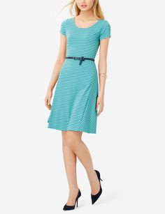 Striped Skater Dress - A twirly skirt has a feminine look, perfect for a weekend picnic brunch!