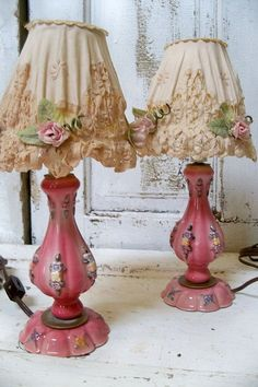 Shabby chic pink lamp set with embellished shades vintage antique cottage ruffled lighting decor Anita Spero These lamps are old enough to