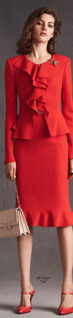 Oscar de la Renta Resort 2016. Red suit. women fashion outfit clothing style apparel @roressclothes closet ideas
