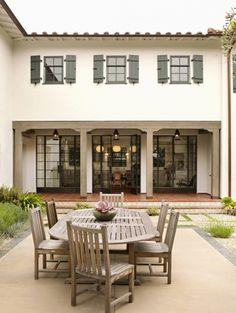 steel patio doors + terra cotta + architecture