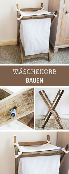 DIY instructions: DIY laundry basket, rustic home decor / diy furniture: how . - DIY instructions: DIY laundry basket, rustic home decor / DIY furniture: how to build a laundry bas -