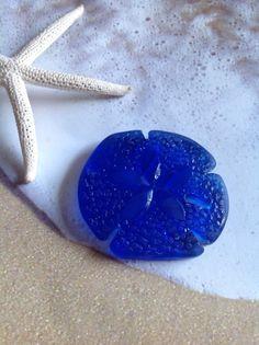 1 Sea glass sand dollar-Seaglass-Sea Glass Bead,Beach Glass-Cobalt Blue, Large Focal Bead-40 x 36 mm-supplies, jewelry findings, beads, blue