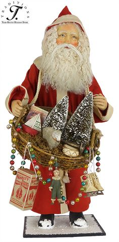 Traditions Year-Round Holiday Store has the best collection of Bethany Lowe Christmas figures, garlands, wreaths, ornaments, village houses & decorations! Christmas Elf Doll, Christmas Figurines, Father Christmas, Santa Christmas, Christmas Crafts, Christmas Ornaments, Christmas Ideas, Christmas China, Vintage Santa Claus