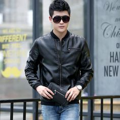 male leather jacket spring and autumn slim short design Leather motorcycle jacket stand collar Casual Coats plus size M-5xl 8830