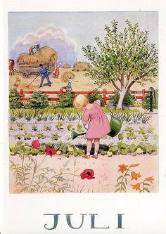 'Juli' ~ watering the garden, hay harvest ~ summer illustration by Elsa Beskow Elsa Beskow, Images Vintage, Vintage Pictures, Vintage Art, Gravure Illustration, Children's Book Illustration, Old Illustrations, Jolie Photo, Flower Fairies