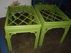 rattan end tables painted green with glass tops