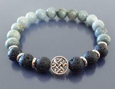 Blue tiger eye bracelet Lava bracelet Celtic by EmpathyGifts