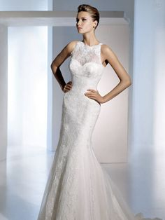 Sweetheart Neckline with High Neck Tulle Mermaid Wedding Dress