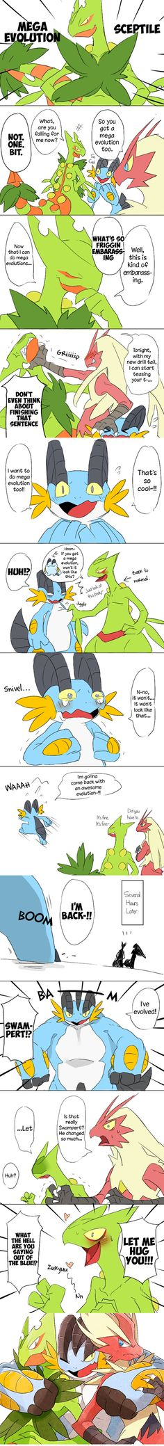 Pokemon and their mega evolution Mega Pokemon, Play Pokemon, Pokemon Comics, Pokemon Funny, Pokemon Memes, Pokemon Fan Art, Pokemon Mewtwo, Mudkip, Pokemon Stuff