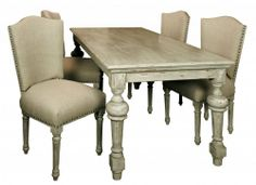 Amberly Cream Distressed French Dining Table Set Of Four Dining Linen Upholstered Chairs
