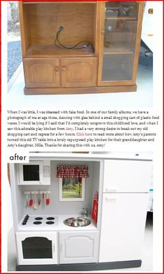 Another upcycled play kitchen. This one is very similar to the FREE entertainment center I saw on craigslist. Hmmmmmm.
