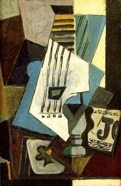 Pablo Picasso, 1914 Nature morte- Guitare, journal, verre et as de trèfle on ArtStack #pablo-picasso #art